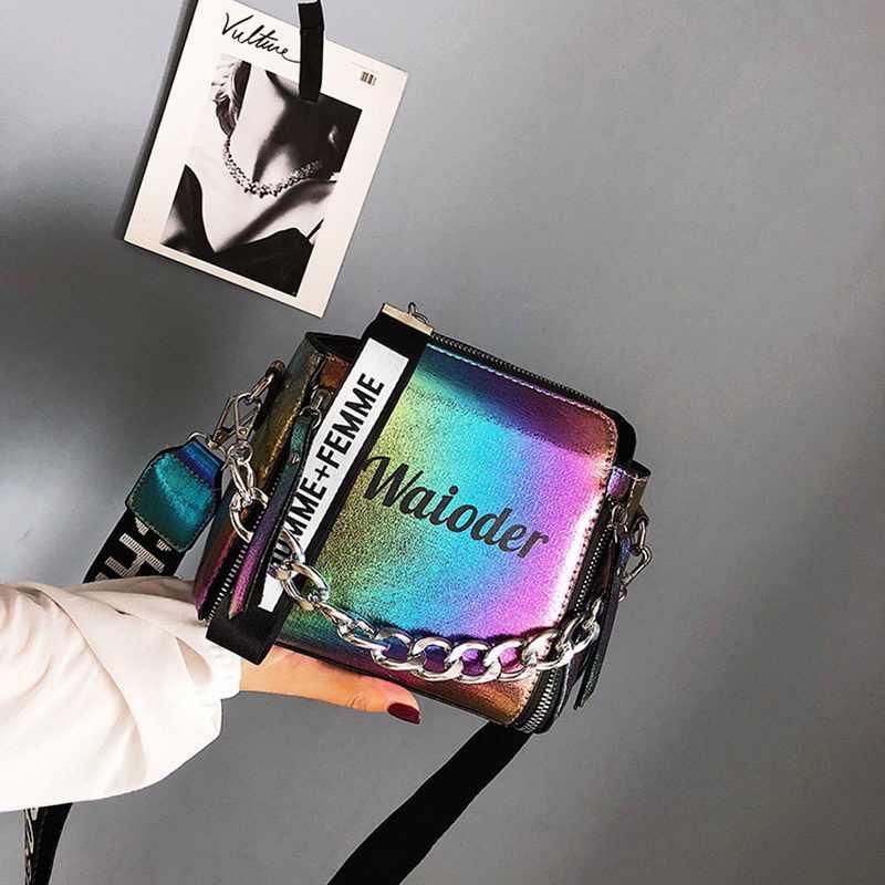 Puimentiua Wanita Surat Tas Bahu untuk Wanita Fashion Rantai Wanita Populer Tas Messenger PU Tas Indah Tas Selempang
