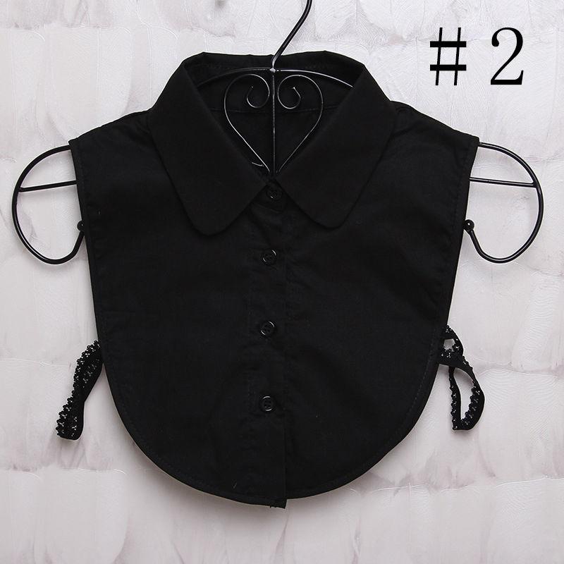 Pure Color False Collar White/Black Women Choker Necklace Ladies Detachable Lapel Half Shirt Fake Blouse