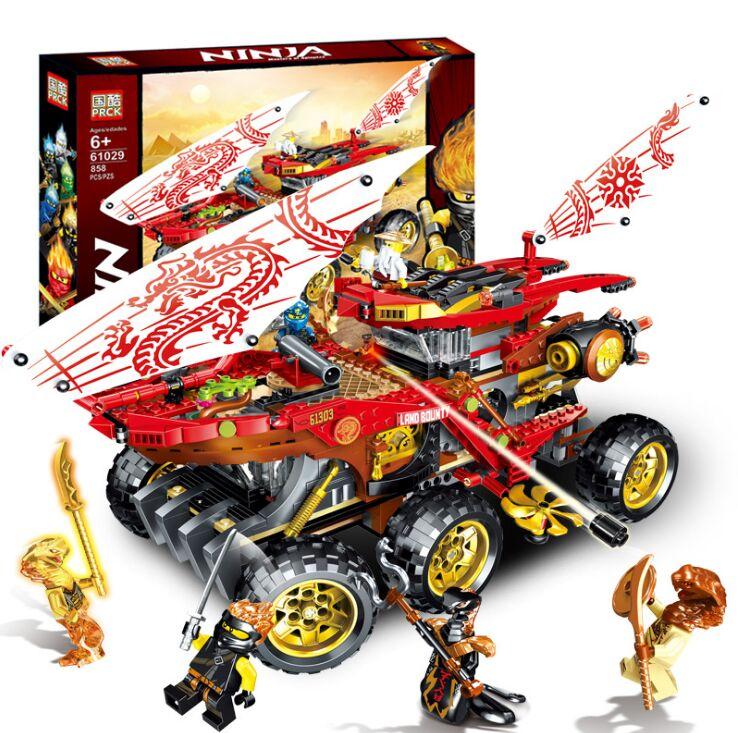 New 858pcs Ninja Land Bounty Truck Model Building Blocks Compatible Lepining 70677 Ninjagoes Kids Toy Bricks Gifts Blocks     - title=