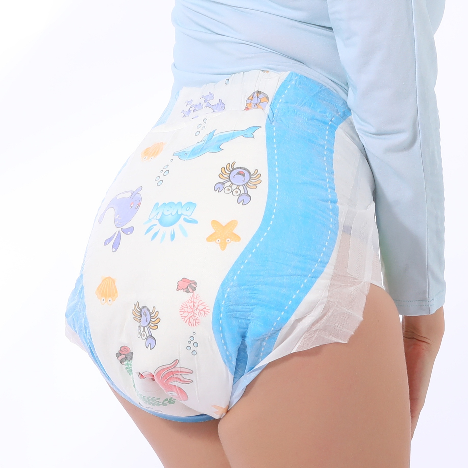 DDLG 4000ml Disable Diaper Nappie Soft Dinosaur Ocean Printed Paper Large Size Diaper Pant Adult ABDL Diapers 8pcs In A Packs