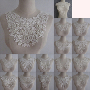 White DIY Hand-embroidered ABS Pearl Lace Collar Applique Lace Neckline Clothing Accessories Decals YL640-YL787