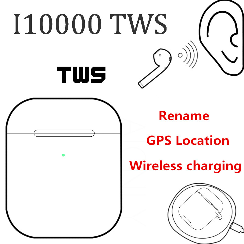 i10000 <font><b>TWS</b></font> Bluetooth 5.0 in-ear 1:1 Replica Air 2 Pop Up Earbuds i10000tws Wireless Charging Earphones PK i80 i500 <font><b>i9999</b></font> <font><b>TWS</b></font> image