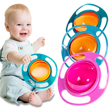 QWZ New Baby Universal Gyro Bowl Children Rotary Balance Novelty Gyro Umbrella 360 Rotate Spill-Proof Solid Feeding Dishes