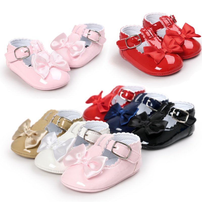 Glossy Buckle Up Baby Girls Shoes With Bow Newborn First Walker Shoes Infant Princess Soft Sole Bottom Anti-slip Shoes