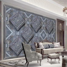 Milofi custom modern fashion large wallpaper mural hard bag rhombic European 3d stereo TV background wall