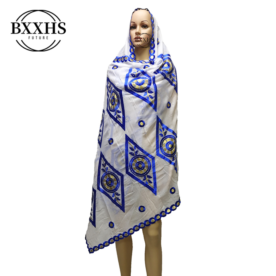 Fashion Embroidered Set Auger African Women In Head Scarf Muslim New Scarf Type Big Yards Outside The Scarf Scarf Cotton