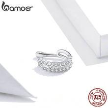 1 PC bamoer auténtica Plata de Ley 925 deslumbrante claro CZ brazalete de oído pendientes de Clip pendientes largos aretes pendientes para las mujeres boda joyería de declaración SCE904