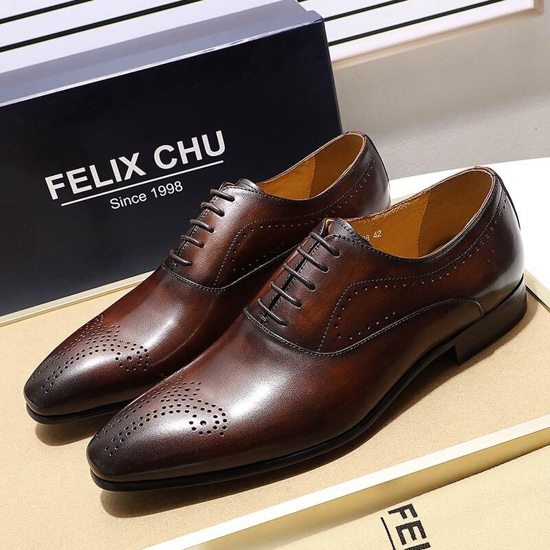 FELIX CHU ผู้ชายรองเท้าหนังเหรียญ Oxfords Mens Lace Up รองเท้าหนังแท้สีน้ำตาลสีดำธุรกิจผู้ชายรองเท้า-ใน รองเท้าทางการ จาก รองเท้า บน   1