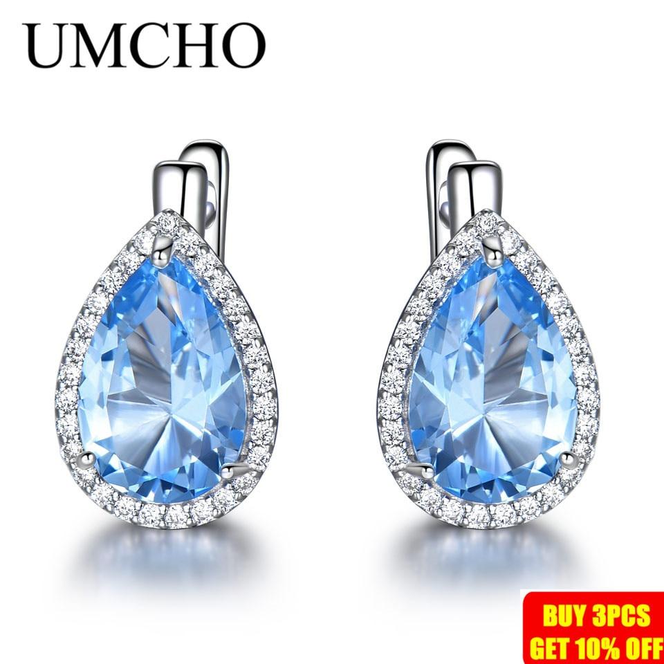 UMCHO Nano Sky Blue Gemstone Clip Earrings 925 Sterling Silver Earrings For Women Fashion Fine Jewelry Gift New Year Festival