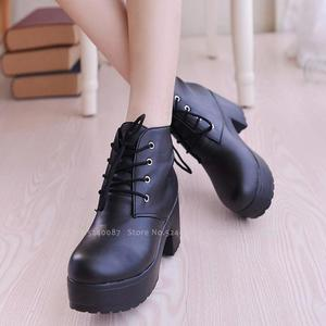 Image 2 - Women Anime Cosplay Round Head High Heel JK Uniform Japanese Students Leather Boots Party Dance Lolita Royal Sister Martin Shoes