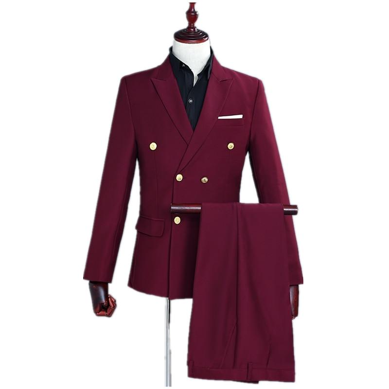 Fashion Solid Color Business Men's Suit Wedding Banquet Costume Lapel Gold Double-breasted Wine Red Slim Suit Set (coat + Pants)