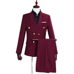 Fashion solid color business mens suit wedding banquet costume lapel gold double-breasted wine red slim suit set (coat + pants)