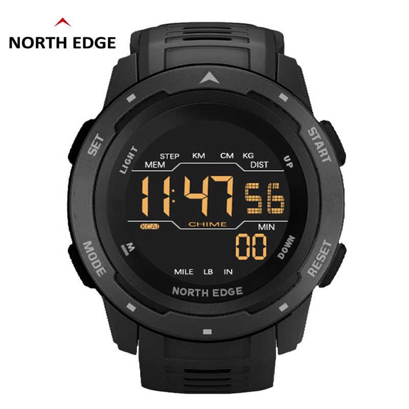 Kuzey kenar erkekler dijital saat erkek spor saatler İkili zaman pedometre çalar saat su geçirmez 50M dijital saat askeri saat