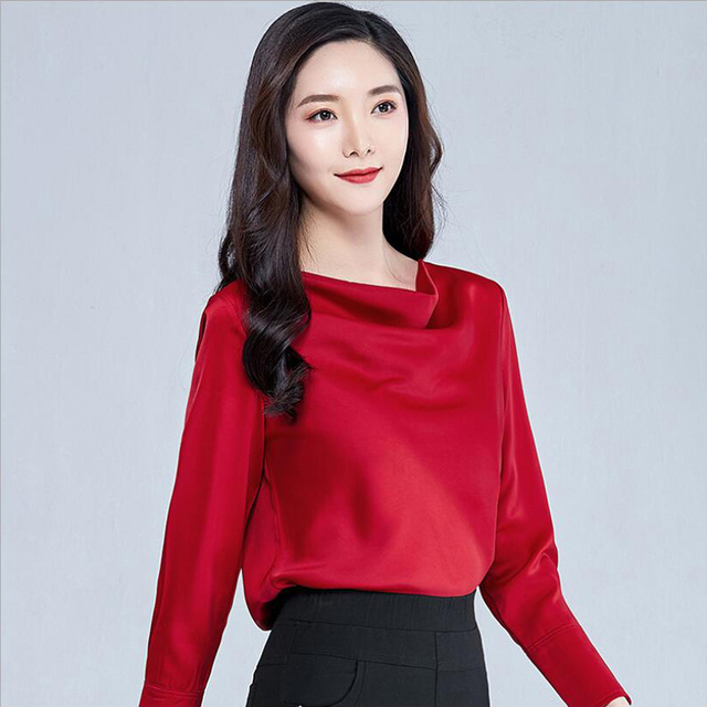 2020 Autumn Women Blouse Shirt Fashion Casual Long Sleeve Solid Color Loose Satin Shirt Plus Size Women Clothing 4