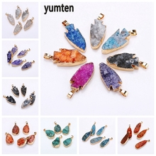 Yumten Anchor Geode Charm Crystal Bullet Pendant Clusters Necklace Sweater Chain Jewelry Unique Mineral Accessories Women Gift