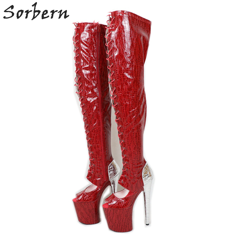 Sorbern Red Snake Peep Toe Ankle Boots Women 20Cm High Heel Shoe Lace Up Booties Exotic Platform Stripper Shoes Ins Hot Sale