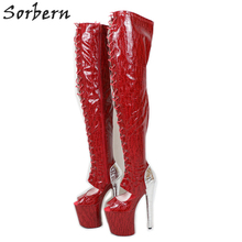 Sorbern kırmızı yılan Peep Toe yarım çizmeler kadın 20Cm yüksek topuk ayakkabı Lace Up patik egzotik platformu striptizci ayakkabı Ins sıcak satış