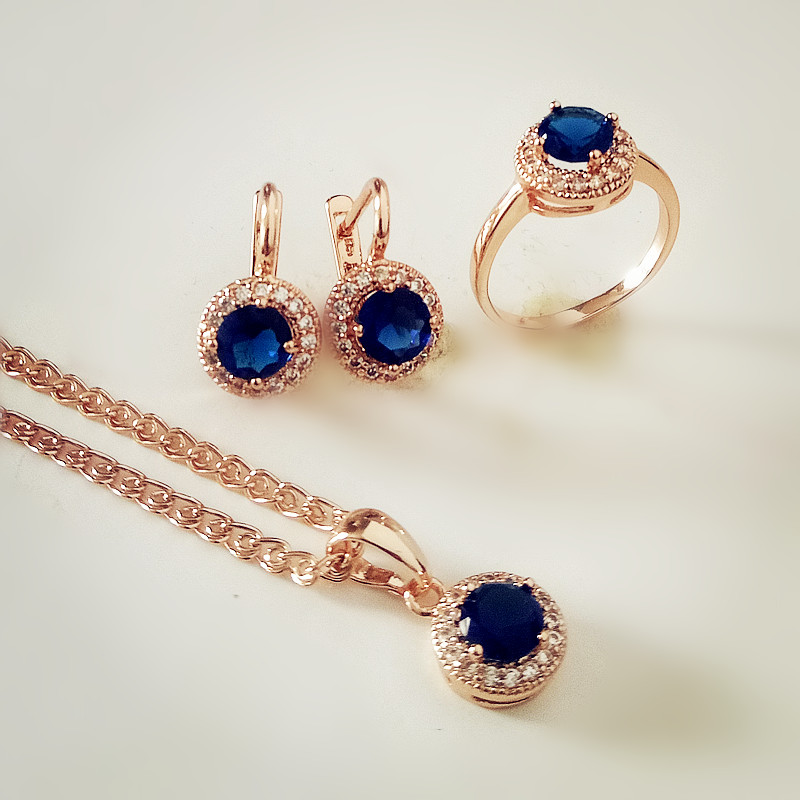 Комплект из колье, серёг и кольца, под розовое золото|colorful jewelry sets|luxury bridal jewelry setsjewelry sets for women | АлиЭкспресс