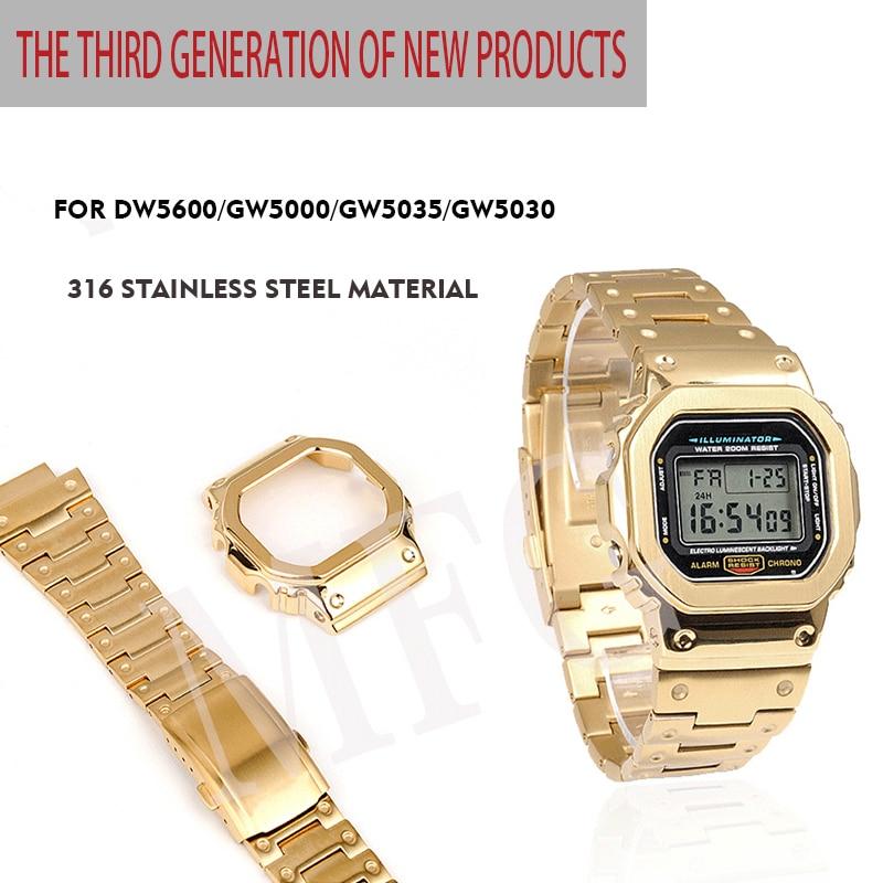 Armband und lünette DW5600 GW5000 GW M5610 metall strap lünette edelstahl gürtel werkzeuge Fall Rahmen-in Uhrenbänder aus Uhren bei  Gruppe 1