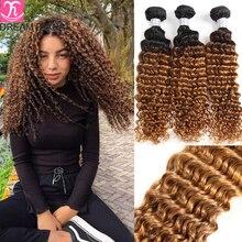 Индипряди волос DreamDiana с эффектом омбре, глубокие вьющиеся пряди волос 1B/4/30 1B/4/27, 3 оттенка, волнистые волосы с эффектом омбре, 100% человеческие...