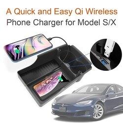 Handy Drahtlose Ladegerät Für Tesla Model S X Zubehör Center Console Storage Box Tasse Halter Lade Pad Dock Für iPhone