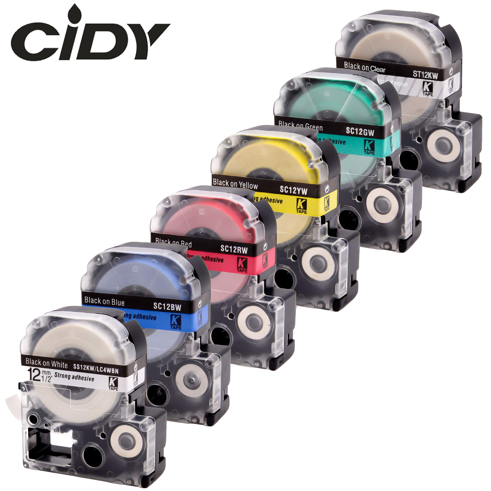 CIDY 6pcs 12MM ST12KW SS12KW SC12GW SC12YW SC12BW SC12RW Laminated Tape For Kingjim/epson Label Maker LW300 LW400 SR150 LW-600P