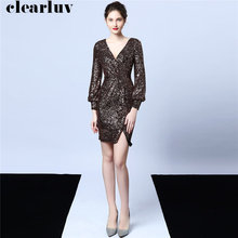 Short Prom Dress 2019 Sexy V-neck Sequins Dresses Women Party Night DX233-5 Plus Size Long Sleeve Prom Gown New Vestidos De Gala