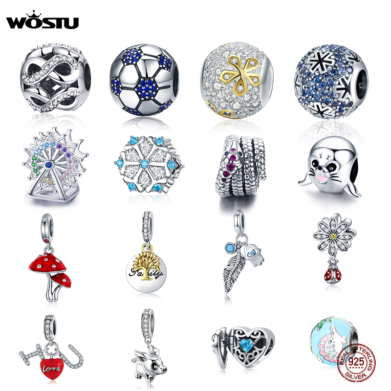 WOSTU Real 925 Sterling Silver 32 Style Charms Zircon Beads Fit Original Bracelet Pendant DIY Necklace Authentic Fashion Jewelry