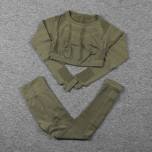 Image 1 - Sportswear Yoga Sets Frauen für Fitness Kleidung Frau Gym Padded Langarm Shirt Leggings Push up Nahtlose Sport Anzüge, ZF328
