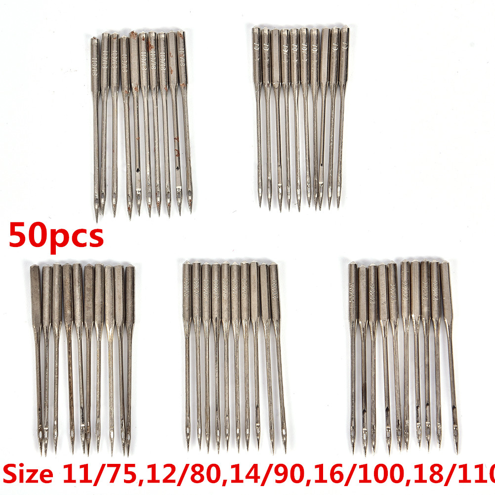 50Pcs Household Sewing Machine Needles 11/75,12/80,14/90,16/100,18/110 Home Sewing Needle DIY Sewing Accessories