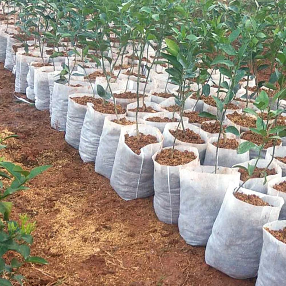 New 100PCS Seedling Plants Nursery Bags Organic Biodegradable Grow Bags Fabric Eco-friendly Ventilate Growing Planting Bags