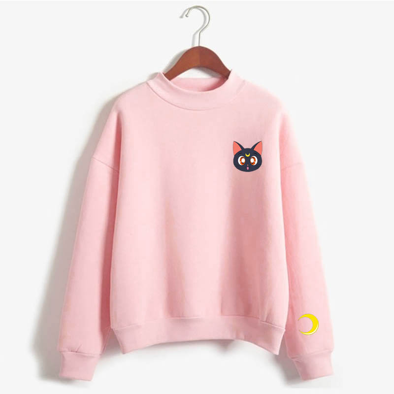 Sailor Moon Sweatshirt Luna Harajuku Hip-hop Ulzzang Korean Style Cartoon Sweatshirt