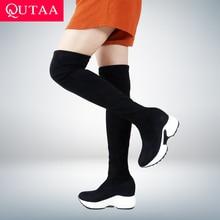 QUTAA 2020 Co Giãn Vải Trên Đầu Gối Giày Tăng Chiều Cao Giày Mũi Tròn Nữ Giày Nữ Thu Đông Dài Giày Size34 43