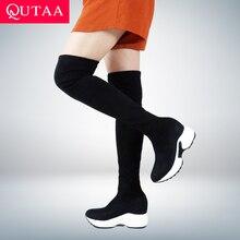 Qutaa 2020ストレッチ生地膝ブーツ高さの増加女性の靴秋冬カジュアルロングブーツSize34 43