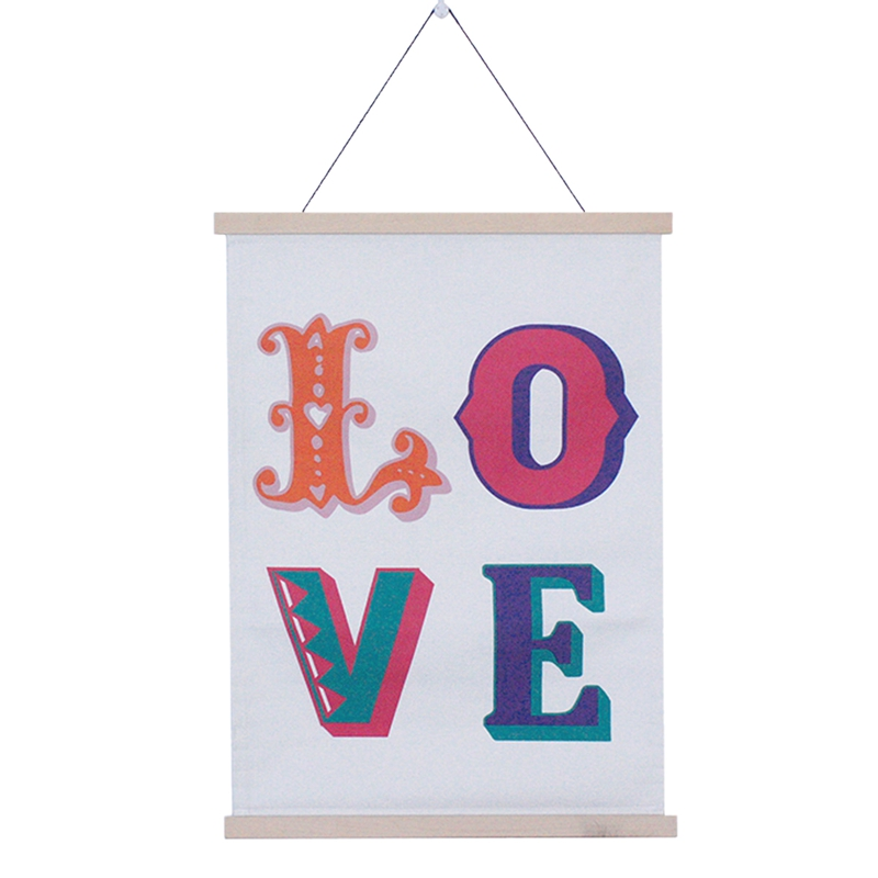 """New Home Decorations Hanging Canvas Pendant Creative """"Love"""" Canvas Roller Curtain Wooden Crafts Canvas