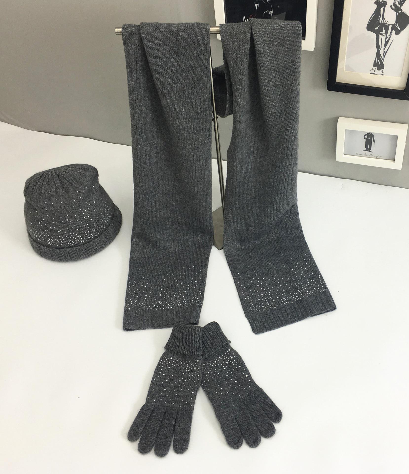 Mooirue Women Winter Warm Hat Scarf Gloves Set Vintage Casual Outwear Knitting Wool Hot Drilling Harajuku Korean Women Hat Scarf