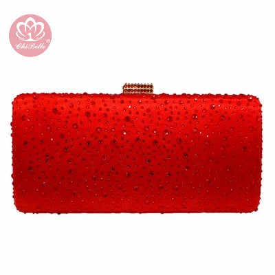 Chi Belle Hot Pink Fuchsia Crystal Clutch Evening Tas Wanita Diamond Kotak Logam Casing Pesta Pernikahan Clutches Pengantin Dompet