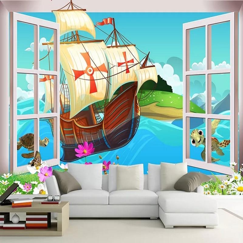 Custom Large Mural 3D Wallpaper Fairy Tale World Cartoon Sailing Turtle Baby Bedroom Mural TV Back Wall Decor Deep 5D Embossed