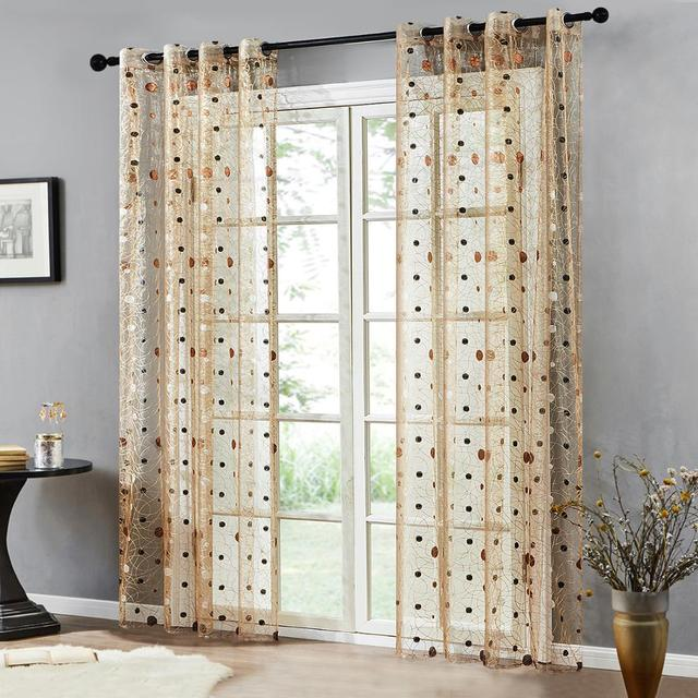 Bird Nest Sheer Curtains With Dots 3