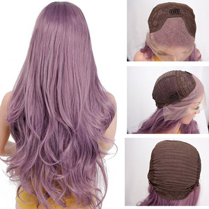 Image 5 - Длинные волнистые синтетические кружевные передние парики Is a wig, фиолетовый кружевной парик для черных/белых женщин, черный, розовый, коричневый цвет
