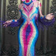 Высокоэластичное Сексуальное Женское Платье с круглым вырезом и кисточками, костюм, элегантное вечернее платье для выпускного вечера