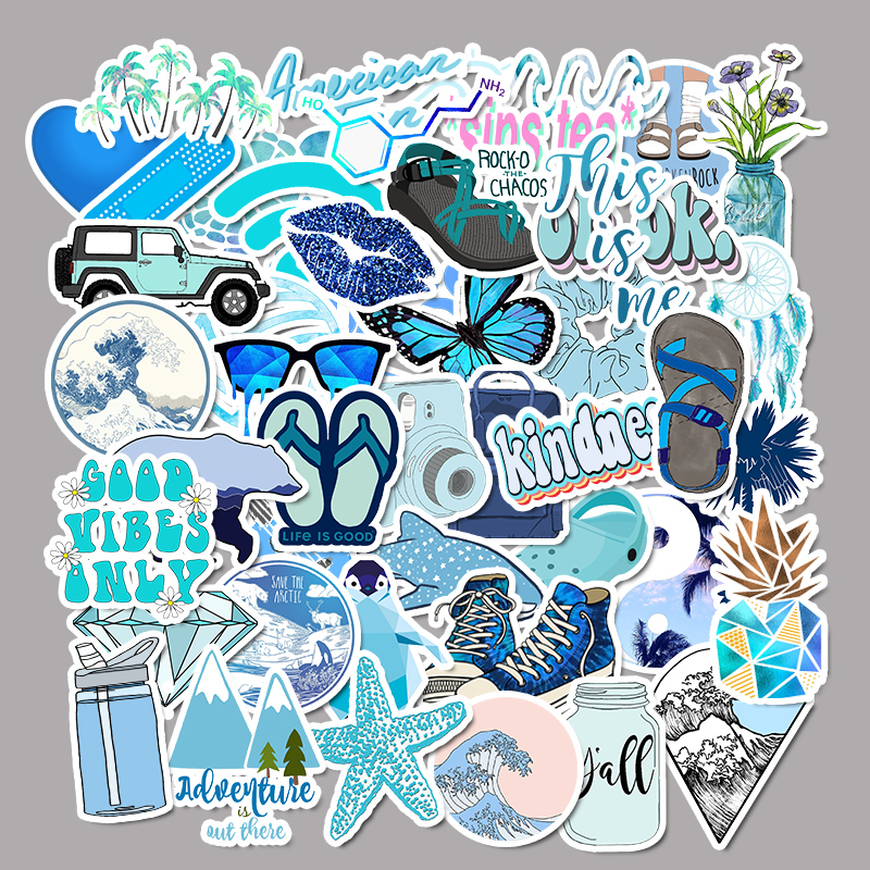 50 PCS Cartoon Summer Blue Kawaii Stickers For Chidren Toy Waterproof Sticker To DIY Laptop Bicycle Helmet Car Decals