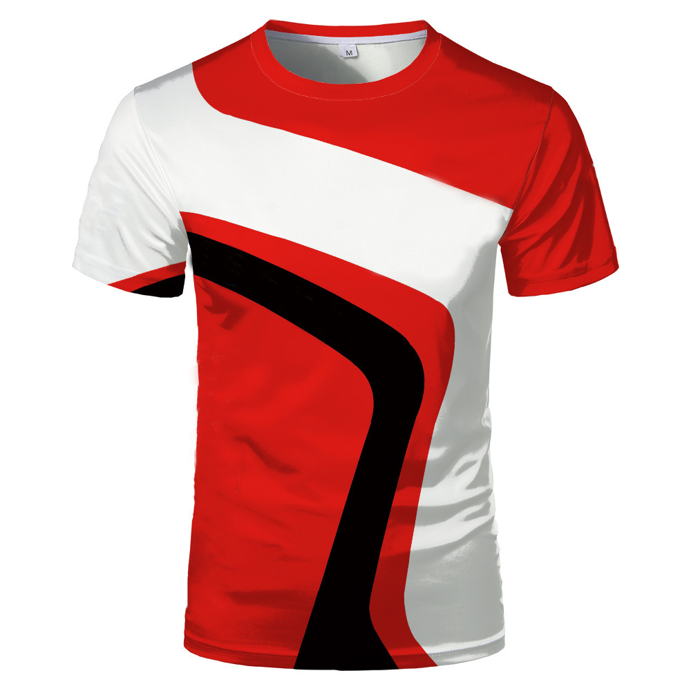 Fashion new 3D printing summer hot sale short-sleeved round neck men and women same sports T-shirt 5