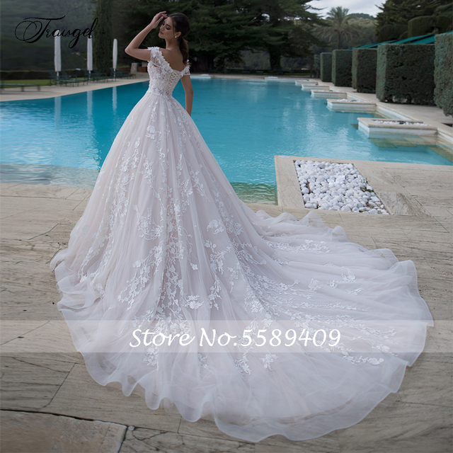 Traugel Off The Shoulder A Line Lace Wedding Dresses Elegant Appliques Lace Up Bride Dress Cathedral Train Bridal Gown Plus Size 2