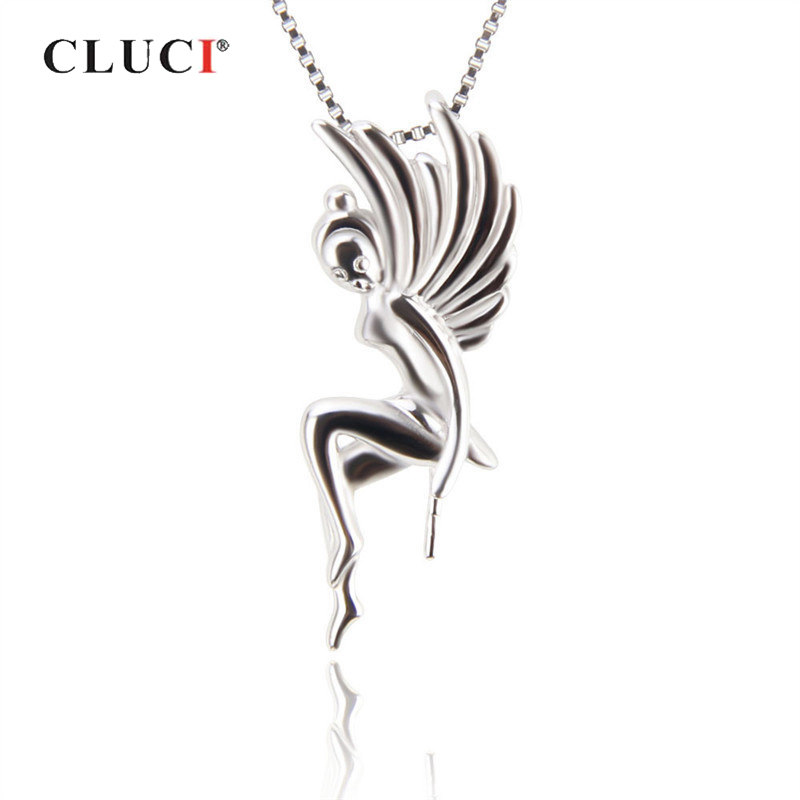 CLUCI 925 Sterling Silver Beautiful Fairy Pendant Women Real Silver 925 Charms Pendant Jewelry For Valentine