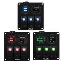 12V/24V 3 Gang Rocker Switch Panel mit 4,8 EIN Dual USB Ladegerät und LED Digital Voltmeter für Marine Boot Auto Rv Rocker Schalter