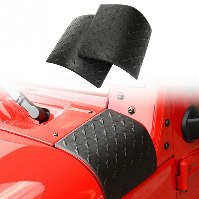 Otomobiller ve Motosikletler'ten Ön ve Radyatör Izgaraları'de 1 çift motor kaputu Trim düz yan kukuletası kapağı ABS Anti pas araba aksesuarları vücut zırhı dayanıklı kolay kurulum Wrangler için jk title=