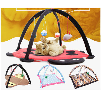 Pet Cat Tent Bed Playing Hammock Soft Breathable Playing Kitten Foldable Portable Blanket House Furniture Pad WIth Ball MouseToy 1