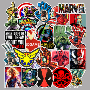 50 pcs/Pack Movie Super Hero for Marvel Anime Cartoon Car Motorcycle Phone Travel Luggage Trolley Laptop Computer Sticker Toy