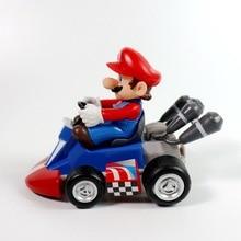 New 1/6/7PCS Super Mario Bros Kart Car Mario Luigi Kart Racing Car PVC Toys Kids Gift Home Decoration Red and white machine